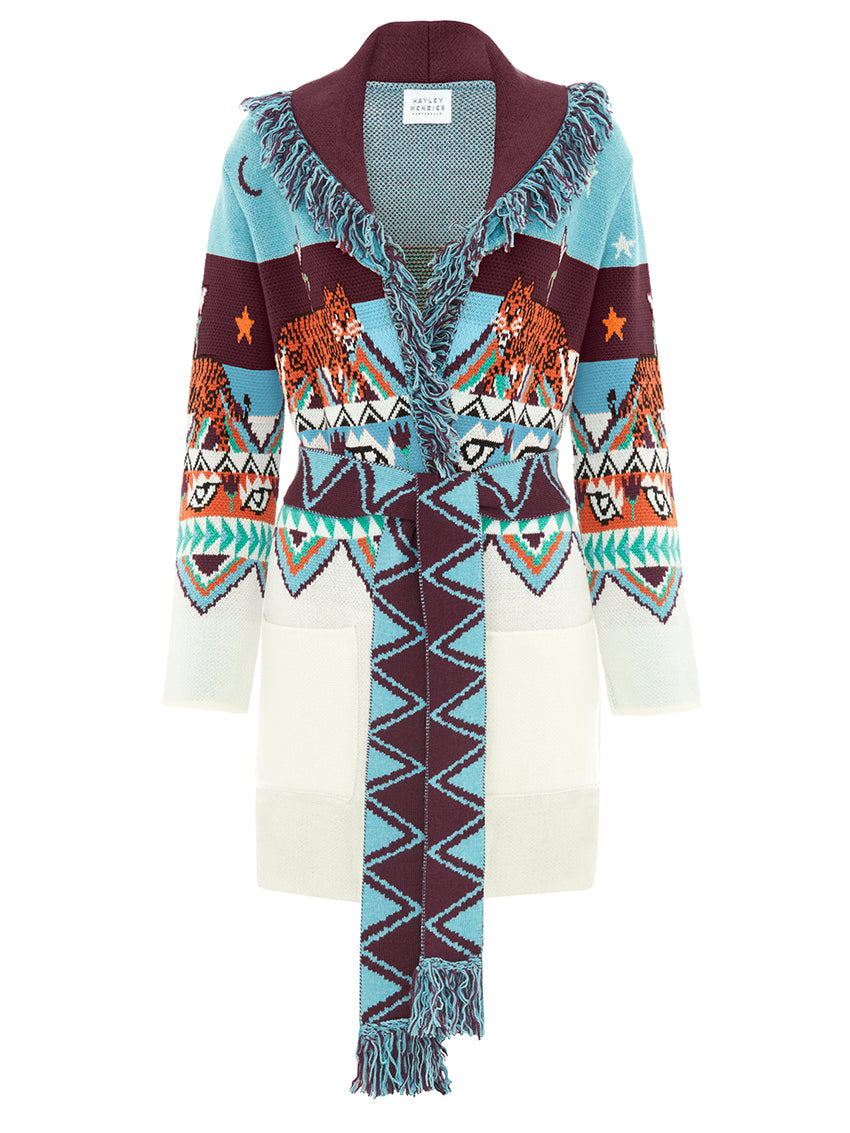 Merino Wool Tigress Knit Cardigan - Turquoise/White