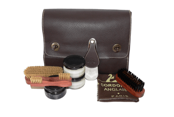 Travel Shoe Shine Kit - Luxury Shoe Care Set - Nomad by La Cordonnerie Anglaise France - ValentinoGaremi