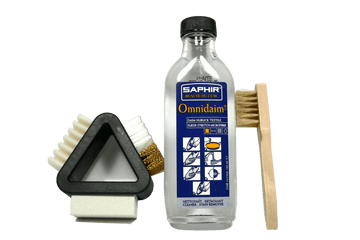 Suede Cleaner Set for Shoes or Boots | Solution with 3 Way Brush by Saphir France - ValentinoGaremi