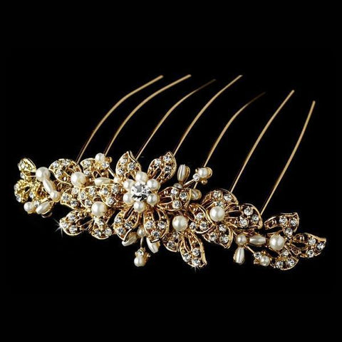 Gold Bridal Hair Combs - Olivier Laudus
