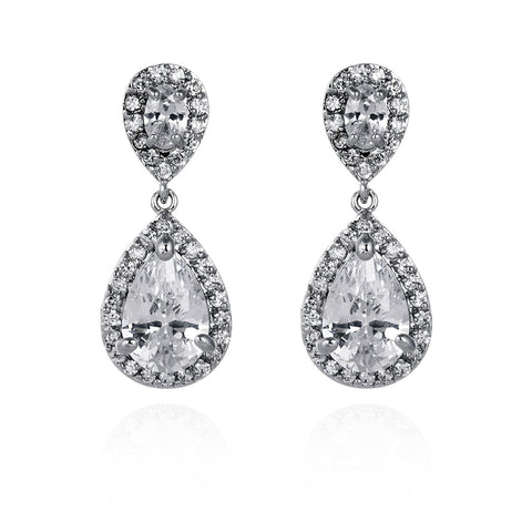 Amalia Simulated Diamond Wedding Earrings