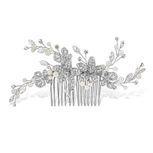 Adele Pearl and Diamante Hair Comb - Olivier Laudus Wedding Jewellery