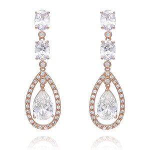 Amelia Rose Gold Simulated Diamond Earrings - Olivier Laudus Wedding Jewellery