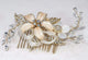 Antique Gold Blossom Hair Comb - Olivier Laudus Wedding Jewellery