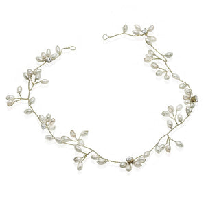 Boho Silver pearl and diamante Hair Vine - Olivier Laudus Wedding Jewellery