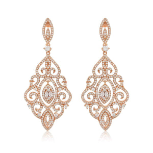 Charlotte Gold Simulated Diamond Drop Earrings - Olivier Laudus Wedding Jewellery