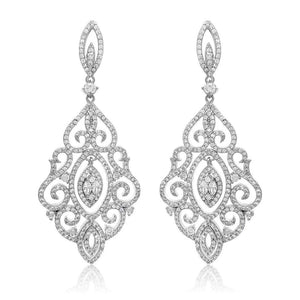 Charlotte Simulated Diamond Drop Earrings - Olivier Laudus Wedding Jewellery