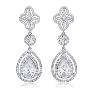 Delia Simulated Diamond Earrings - Olivier Laudus Wedding Jewellery