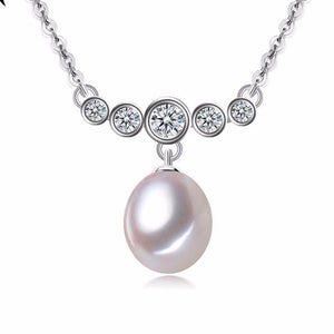 Diana Freshwater Pearl and Simulated Diamond Pendant - Olivier Laudus Wedding Jewellery