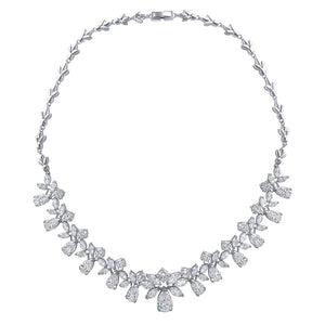 Flora Simulated Diamond Necklace - Olivier Laudus Wedding Jewellery