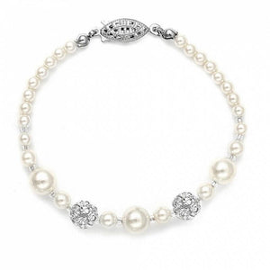 Gabriella Pearl And Diamante Bracelet - Olivier Laudus Wedding Jewellery
