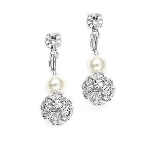 Gabriella Pearl And Diamante Earrings - Olivier Laudus Wedding Jewellery