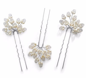 Monaco Freshwater Pearl Hair Pins Set of 3 - Olivier Laudus Wedding Jewellery