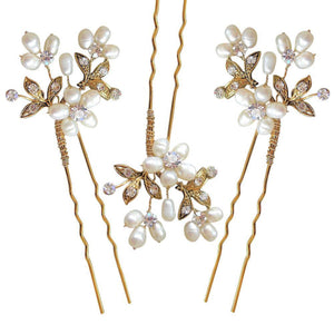 Paris Hair Pins Gold (set of 3) - Olivier Laudus Wedding Jewellery