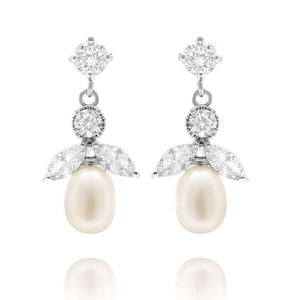 Starlet Freshwater Pearl Drop Earrings - Olivier Laudus Wedding Jewellery