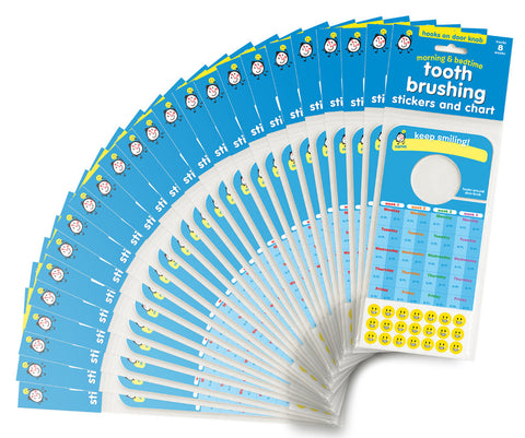Tooth Brushing Stickers and Chart - Bulk 100 Pack - ideal for Pediatric Dentists