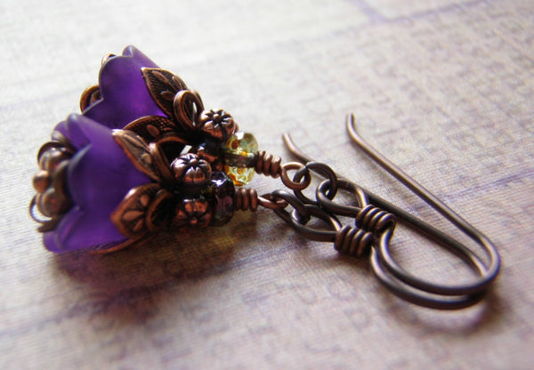 Amethyst Shimmer Glass Beads 6 and 8 mm Smooth Druk Czech Glass 20 Beads - Cigar Box Earrings