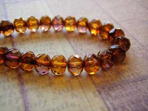 Amber Gold Beads 7 x 5 mm Faceted Glass Rondelle Picasso Finish 10 Beads - Cigar Box Earrings
