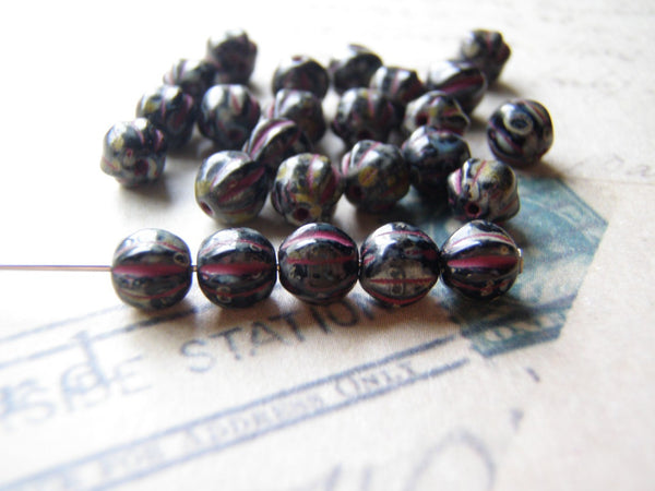 Melon Glass Beads 6 mm Round Black with Raspberry Picasso Finish 10 Beads - Cigar Box Earrings