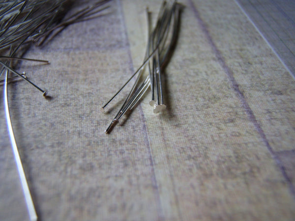 Silver Plated Head Pins 24 Gauge 1 mm Head 2 Inches 144 Pieces - Cigar Box Earrings and Supplies  - 2