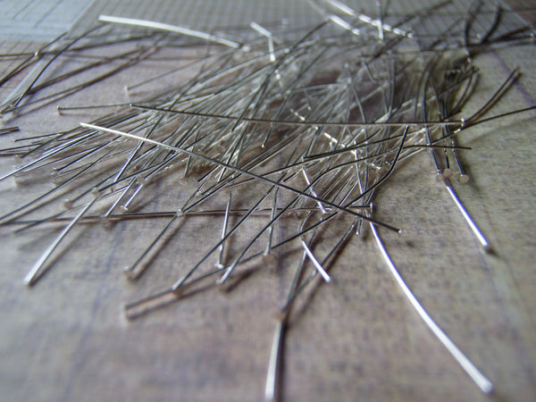 Silver Plated Head Pins 24 Gauge 1 mm Head 2 Inches 144 Pieces
