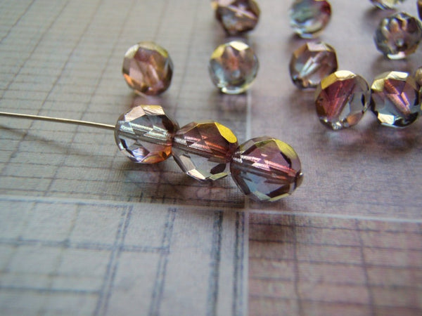 Faceted Glass Beads Aurum Finish 8 mm Fancy Color Blends and Finish Czech Glass 20 Beads