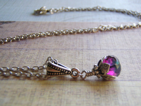 Faerie Tears Necklace Antique Silver Chain 9 x 6 Blue Zircon/Purple Dangle Gift Boxed - Cigar Box Earrings and Supplies  - 5