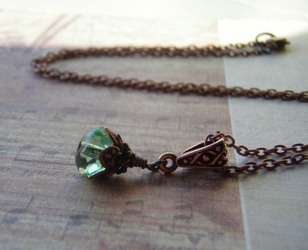 Mermaid Tears Necklace Antique Copper Lobster Clasp 9 x 6 Peridot Green Glass Dangle - Cigar Box Earrings and Supplies  - 7
