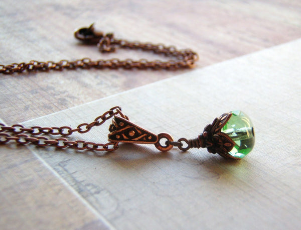 Mermaid Tears Necklace Antique Copper Lobster Clasp 9 x 6 Peridot Green Glass Dangle - Cigar Box Earrings