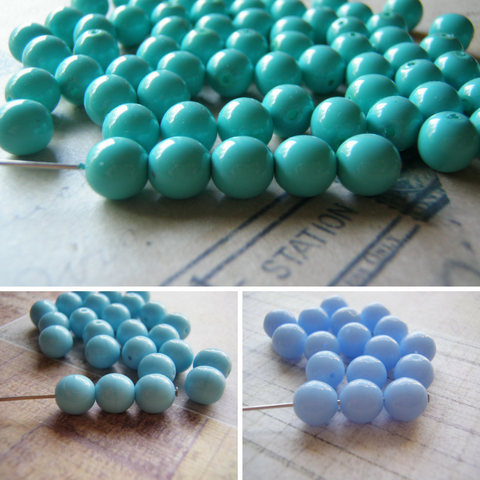 Blue Beads Opaque Round Druk Smooth Czech Glass 8 mm Three Colors Available 20 Beads
