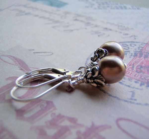 Pearl Earrings Silver Ear Wire 8 mm Glass Pearl Dangle Many Colors Available Handmade
