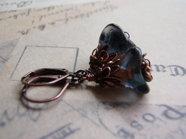 Montana Blue Earrings Blue and Copper Flower Antique Copper Lever Back Ear Wire