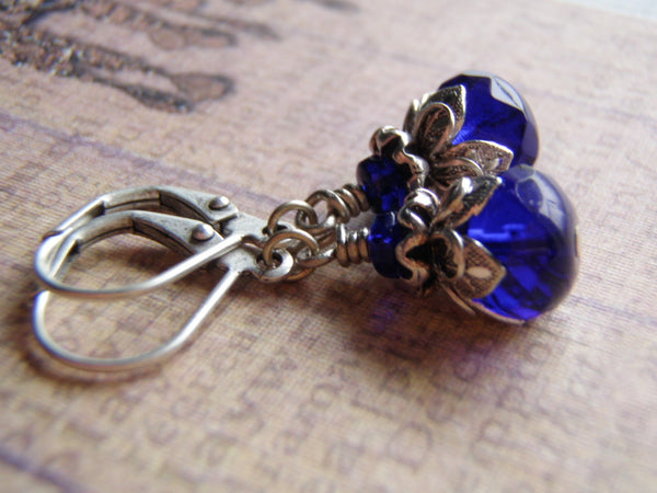 Cobalt Blue Earrings Sterling Silver Lever Back Ear Wire 9 x 6 mm Czech Glass Dangle - Cigar Box Earrings and Supplies  - 2