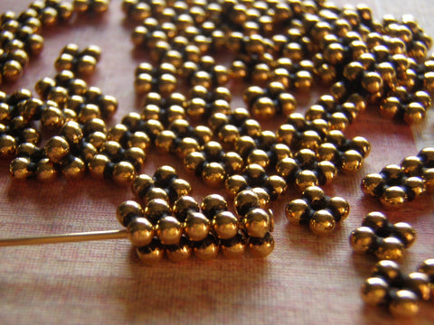 Tierra Cast Quad heishi Bead Antique Gold 5 mm Pk of 10 - Cigar Box Earrings and Supplies  - 1