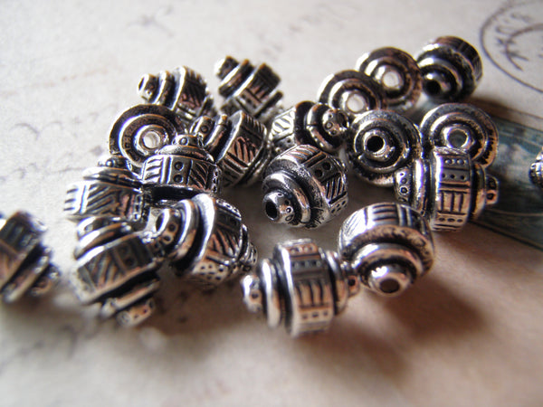 Silver Bead Tierracast Ethnic Barrel Design 2 Beads