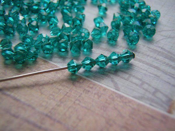 Blue Zircon Bicone Crystals 4 mm Preciosa Spacers 10 Beads - Cigar Box Earrings and Supplies  - 2