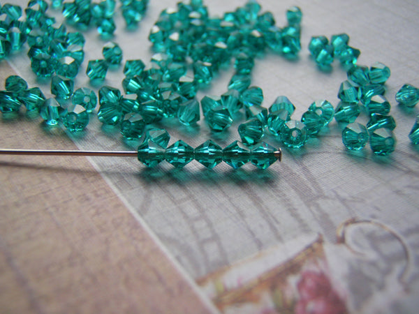 Blue Zircon Bicone Crystals 4 mm Preciosa Spacers 10 Beads