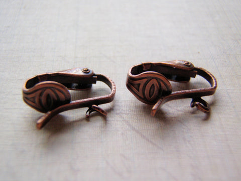 Antique Copper Clip On Ear Wires Pierced Look One Pair (Two Pieces) - Cigar Box Earrings and Supplies  - 1