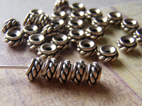 Silver Bead Tierracast Twisted Rope Design Spacer heishi 6 Beads