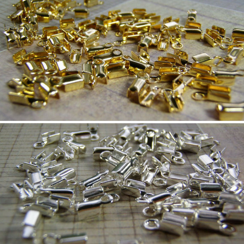 Crimp Connectors 2 mm Gold or Silver Plated Fold Over Cord Ends 20 or 100 Pieces