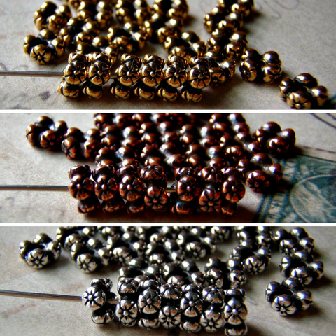 Four Flower Heishi Beads Tierracast Three Finishes Available 6 Beads