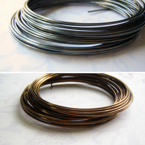 Soft Plated Round Wire Hematite or Vintage Bronze Colors 16 to 28 Gauge One Roll
