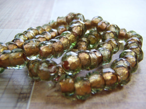 Copper Lined Roller Beads Large Hole 9 x 6 mm Faceted Glass 10 Beads