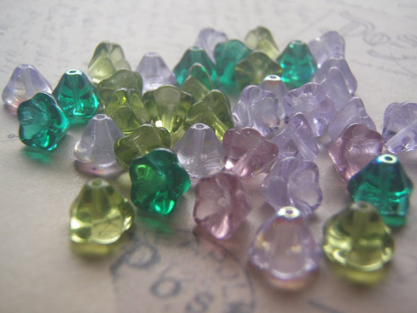 Flower Beads 6 x 8 mm Czech Glass Bell Flower Fancy Finish and mixes 20 Beads