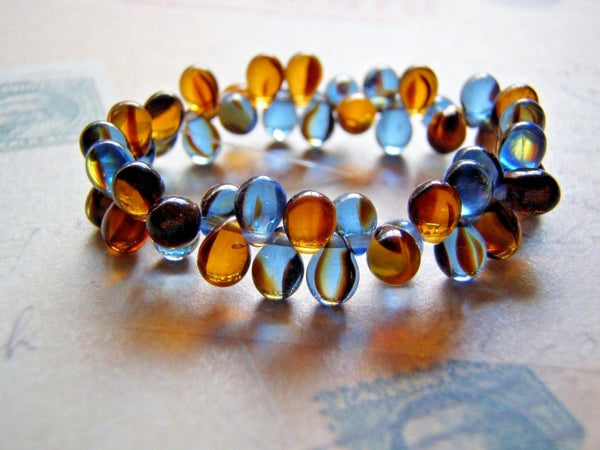 Blue Denim and Amber Glass Beads 5 x 7 mm Top Drilled Teardrop 20 Beads - Cigar Box Earrings and Supplies  - 2