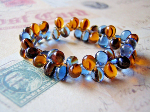 Blue Denim and Amber Glass Beads 5 x 7 mm Top Drilled Teardrop 20 Beads - Cigar Box Earrings and Supplies  - 3