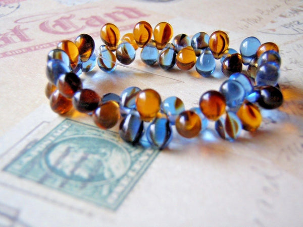 Blue Denim and Amber Glass Beads 5 x 7 mm Top Drilled Teardrop 20 Beads - Cigar Box Earrings