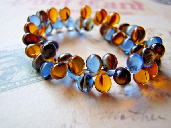 Blue Denim and Amber Glass Beads 5 x 7 mm Top Drilled Teardrop 20 Beads - Cigar Box Earrings and Supplies  - 4