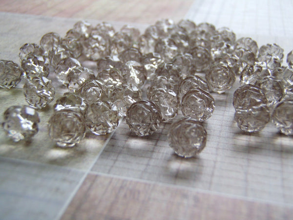 Platinum Grey Rosebud Beads 8 mm Glass 1 mm Hole 10 Beads - Cigar Box Earrings and Supplies  - 3