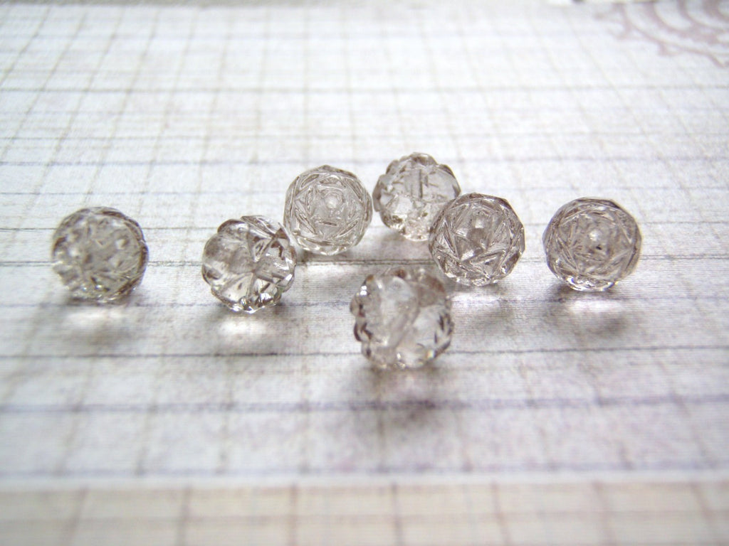Platinum Grey Rosebud Beads 8 mm Glass 1 mm Hole 10 Beads - Cigar Box Earrings and Supplies  - 1